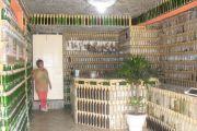 Casa de reciclado hecha con botella y basura